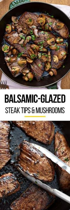 Quick & easy balsamic glazed & marinated steak tips and mushrooms recipe. The marinade for this simple one pan weeknight dinner is SO GOOD. Great for families or just two. Healthy, low carb meals like this are family favorites. You'll need sirloin steak tips (or flank steak or flap meat), soy sauce, balsamic vinegar, garlic, dijon mustard, cremini mushrooms, and butter. You don't even need to turn on the oven - cook it on the stovetop! by karla