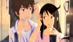 Animator : Shinkai Makoto, Kimi no na wa, Your name, Tachibana Taki, Miyamizu Mitsuha Your Name Movie, Your Name Anime, Watch Your Name, Kimi No Na Wa, Anime Love, Anime Manga, Anime Art, Que Bad, Ghibli