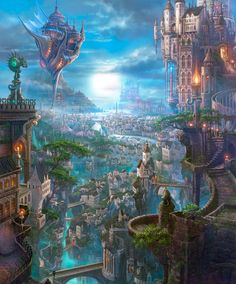 Kazumasa Uchio As I look over the city, the sun rises into sky bringing light to everything. The water glistens and turns into a brilliant blue under the morning light, street lights and torches were lit signal the awakening of the city as morning makes i
