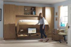 Inspirational Home Office Desks - study bed Cama Murphy, Murphy Bed Desk, Murphy Bed Plans, Desk Bed, Murphy Beds, Table Desk, Desk Chair, Narrow Bedroom, Small Room Bedroom
