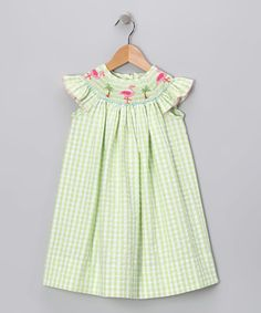 Another great find on #zulily! Lime Gingham Flamingo Angel-Sleeve Dress - Girls #zulilyfinds