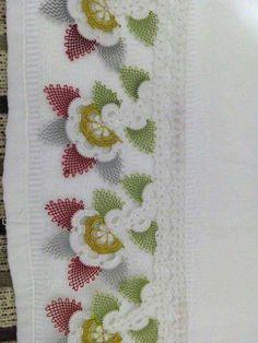 uzun dal ve yapraklı çiçek oya modeli