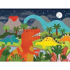 Other Vintage Puzzles 730: Petit Collage Floor Puzzle, Dinosaur Kingdom, 24 Pieces -> BUY IT NOW ONLY: $36.96 on eBay!