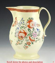 C1790 Yorkshire Derbyshire English Creamware Porcelain Jug Floral Motif