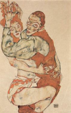 Egon Schiele depicting lovers