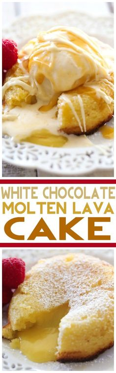 White Chocolate Molten Lava Cake recipe from Chef in Training Ingredients 4 oz. white bakers chocolate ½ cup butter 1 cup powdered sugar 2 eggs 2 egg yolks 6 Tablespoons flour For directions on how to make white chocolate molten lava Just Desserts, Delicious Desserts, Yummy Food, Sweet Recipes, Cake Recipes, Dessert Recipes, Molten Lava Cakes, How Sweet Eats, Yummy Cakes