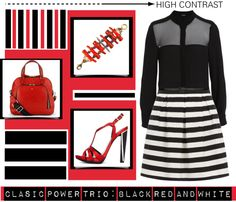 """Classic Power Trio - Black, Red, and White"" by latoyacl ❤ liked on Polyvore"