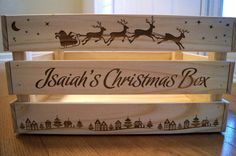 Personalized Large Christmas Crate Wooden by CanoeBabyCrafts ~ Christmas Eve Box #Santa #ChristmasWrapping #HowtoWrapPresents