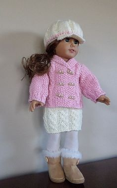 """American Girl Doll Clothes - Hat, cardigan and skirt hand knitted in acrylic. Also fits Gotz, Madame Alexander & similar 18"""" dolls. Patterns from Ravelry by Debonair Designs. Hat pattern free http://www.ravelry.com/patterns/library/newsboy-cap-for-american-girl-dollshttp://www.ravelry.com/patterns/library/newsboy-cap-for-american-girl-dolls Cardigan pattern http://www.ravelry.com/patterns/library/bria-2"""