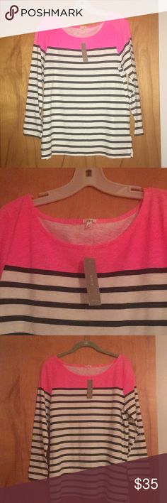 NWT J. Crew Boat neck stripe top size Large NWT J. Crew boat neck stripe shirt size Large Navy and Hot Pink 3/4 length sleeves J. Crew Tops