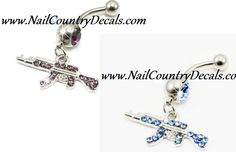 Purple Or Blue Bad Ass AK 47 Belly Ring Navel Ring Body Jewelry 316L Stainless Steel 14g Best Online Prices