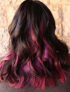 Brown Hair With Pink Highlights, Rosa Highlights, Brown And Pink Hair, Brown Hair Cuts, Brown Hair Looks, Brown Hair Shades, Brown Ombre Hair, Brown Blonde Hair, Light Brown Hair