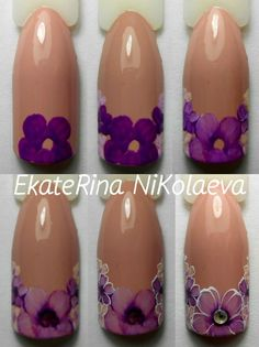 Step-by-step flower nail art Flower Nail Art Nail Art Hacks, Gel Nail Art, Easy Nail Art, Nails & Co, Diy Nails, Flower Nail Designs, Nail Art Designs, Nail Art Modele, Floral Nail Art