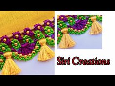 Bridal Saree Kuchu //Bridal Saree Kuchu design with beads tutorial for beginners /Siri Creations Saree Kuchu New Designs, Saree Tassels Designs, Mehndi Art Designs, Crochet Stitches Patterns, Crochet Designs, Stitch Patterns, Crochet Lace Edging, Saree Border, Diy Crafts Hacks
