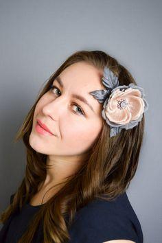 Pink & Grey Rose Hair Clip/ Brooch   Hair by JanaRoyaleDesign