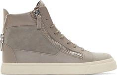 Giuseppe Zanotti Grey Suede London High-Top Sneakers