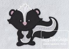 Skunk Applique Design by JazzyZebraDesigns on Etsy