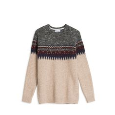 Constructed from a lightweight Alpaca yarn that has a hairy finish and soft handfeel. This crewneck knit features raglan sleeves and an oversized engineered fairisle pattern.   -70% Baby Alpaca 30% Polyamide -Regular fit -Made in Portugal  Model is 183cm tall and wears size M.