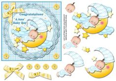 Sleeping Baby Boy On Moon Card Front on Craftsuprint designed by Judith Mary Howells - A gorgeous sleeping baby on a moon with clouds and stars and on a broderie Anglaise frilled frame, with bow, button corners and plaid background. - Now available for download!