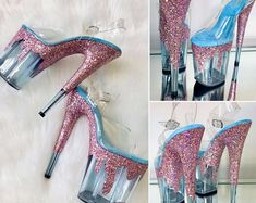 Glitter Heels, Sparkles Glitter, Pole Dance, Crazy Shoes, Me Too Shoes, Rose Gold Chrome, Stripper Heels, Creative Shoes, Little Girl Shoes