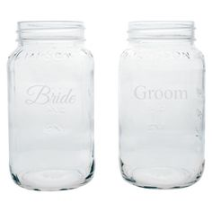 Large Mason Jars - Bride & Groom at Target. Cute for rustic style/barn chic wedding.
