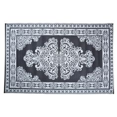 Reversible garden rug designed for outdoor use but can also be used indoors if you wish. Made from plastic, this rug features a Persian style design. Persian Outdoor Rug A wonderful addition to any garden, this Persian style rug from Homescapes is mad Black Rug, White Rug, Black And White, Esschert Design, Persian Motifs, Siding Colors, Design Jardin, New Homeowner, Geometric Rug