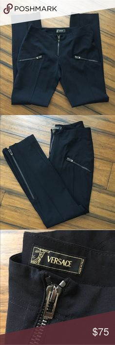 Versace black zip pants size 40/6 Super chic Versace designer pants size 40!  In perfect condition!  Free gift with purchase!!!  Feel free to make an offer Versace Pants