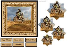 Dirt bike rider 6x6 card with pyramid on Craftsuprint designed by Angela Wake - Dirt bike rider 6x6 card with pyramid and sentiment tags, happy birthday,lead or follow,birthday wishes,motor road cross,dirt biking and a blank - Now available for download!