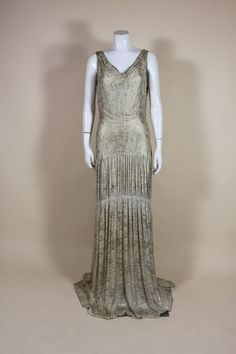 1930s Metallic Silk Silver Lamé Pleated Gown image 2