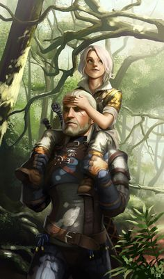 Witcher Ciri and Geralt