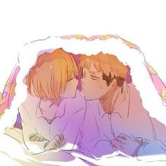 the only person armin will let under his futon is jean. as long as he pays his stay in kisses. jean x armin.