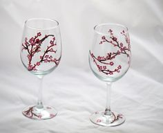 Japanese Cherry Blossom Hand  Painted Wine glass. $25.00, via Etsy.