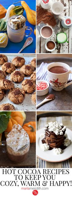 Hot Cocoa Recipes to Keep You Cozy, Warm & Happy!: These hot cocoa recipes will keep you cozy, warm & happy! If you feel like adding a happy hour twist, then just add a splash or two of your favorite spirit or liqueur. Hot Cocoa Recipe, Cocoa Recipes, Happy Monday, Happy Hour, Peanut Blossoms, Chicken Sliders, Lime Chicken, Perfect Food, Holiday Treats