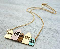 Collar corto de Copenhague, firma collar, colgante de la casa minimalista, diseño escandinavo