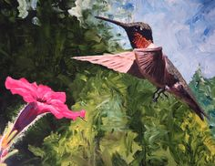'Male Hummingbird and Flower' by Jeffrey Waldron. Check out more work by talented artists affected by #MultipleSclerosis at http://mymsaa.org/artshowcase2015/aom/