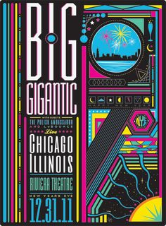 Cool poster a show, lots to look at but I think that the name of the band is the focal point, as it should be. I think its successful because it has eye catching colors, then you see the band name and then you want to read more.