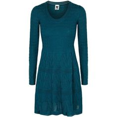 M Missoni Teal Textured-knit Wool Blend Dress - Size 14 (23.935 RUB) ❤ liked on Polyvore featuring dresses, teal blue dresses, teal dress, teal green dress, blue dress and m missoni dress