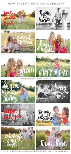 New Valentine's Day Overlays | Photoshop templates for photographers by Birdesign