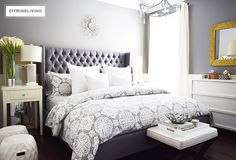 Create a curated bedroom using pattern, texture and mismatched furniture pieces for a collected look that reflects your individual style and personality. Grey Bedroom Design, Simple Bedroom Design, Grey Carpet Bedroom, White Bedroom, Mismatched Furniture, Master Bedroom Makeover, Bedroom Styles, Room Decor Bedroom, Bedroom Ideas