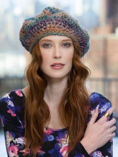 Free Crochet Pattern Painterly Beret Lion Brand® Homespun® Crochet Beanie  Pattern 02e70e162b4e