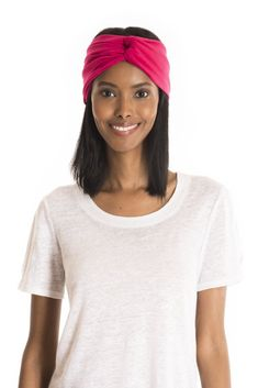 The Haliscera Headband - women's spring summer fashion fuchsia pink bamboo jersey headband Jersey Headband, Fukushima, Bad Hair Day, Spring Summer Fashion, Bamboo, Footwear, V Neck, Clothes For Women, Clothing