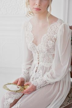 An elegant and sophisticated bridal boudoir session with a lace and pearl button negligee and candles. Bridal Boudoir, Bridal Robes, Wedding Lingerie, Bridal Lace, Sleep Dress, Mode Chic, Pretty Lingerie, Lace Lingerie, Night Gown