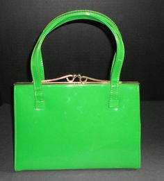 Vintage Gorgeous Green Patent Handbag. 1950s by Cosasraras on Etsy, $39.99