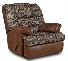 Big Mans Recliner with Camo and Tobacco Fabric, Cowboy Collection.  Roomy and only $1139