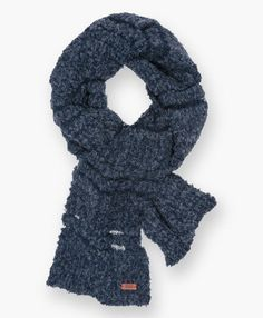 LEVI'S WOMEN BOUCLE SCARF NAVY BLUE SOLID WOOL-POLY BLEND #Levis #Scarf