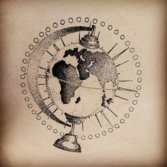 tattoo dotwork globe