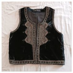 "beaded velvet vest NWT. Never Worn. Great Condition. Size M, TTS.  Bust is approx. 18.5"" across and Length is approx. 20"".   Not Modeling. No Hold. No Trade. Price is Firm. Zara Jackets & Coats Vests"