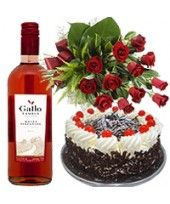 Bottle of Wine ml) and 1 Lbs.g) Black Forest Cake and Mixed Flower Arrangement of 10 flowers ( Roses, Carnations, Gerberas etc. Romantic Valentines Day Ideas, Unique Valentines Day Gifts, Buy Cake Online, Online Gifts, Online Florist, Black Forest Cake, Cake Delivery, Cake Shop, Flower Arrangements