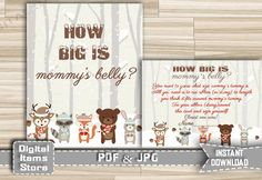 How Big Is Mommy's Belly Game Winter Woodland - Printable Baby Shower Mommy Belly Game in Snow Forest Animals Theme - Instant Download - w2 by DigitalitemsShop on Etsy