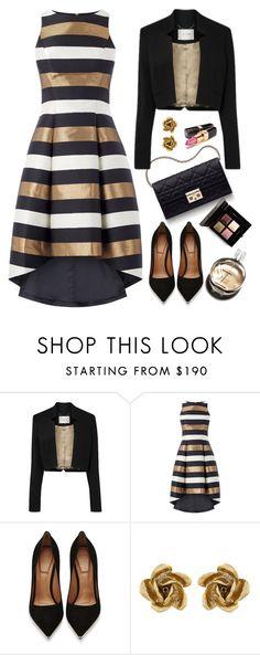 """Metallic Stripe Dress"" by kiki-bi ❤ liked on Polyvore featuring Christian Dior, Givenchy, Chanel, Oscar de la Renta and metallicdress"